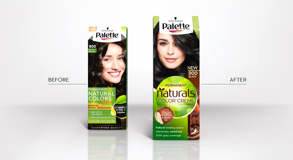 An old and a new pack are standing beside to visualize the difference between the old and the new packaging design