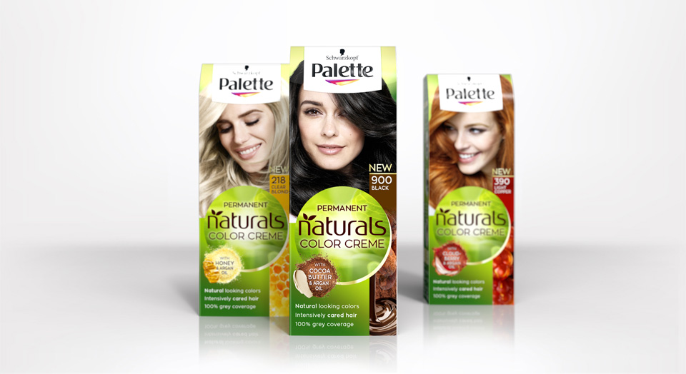 Three packs with the new packaging design 2018 of Schwarzkopfs brand Palette Natural Color Creme are standing in perspective