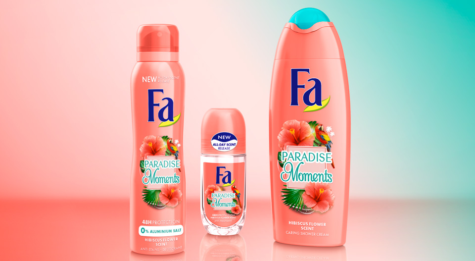 Fa Body Care brand relaunch 2018 Paradise Moments product family