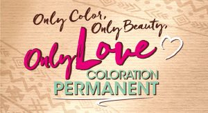 "Handwritten claim and Logo of the new coloration brand ""Only Love"""