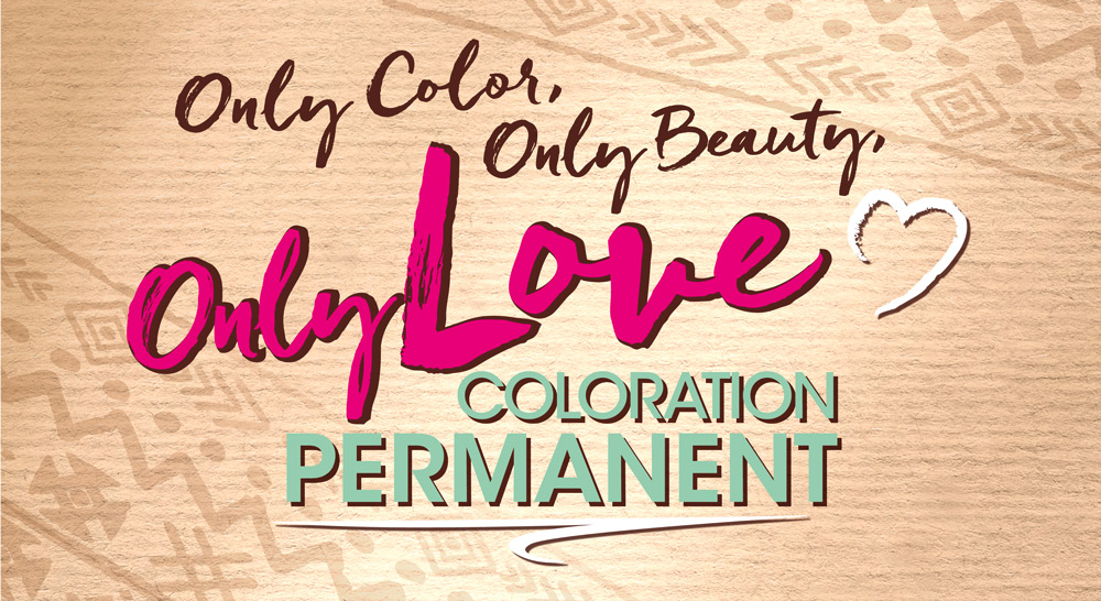 """Handwritten claim and Logo of the new coloration brand """"Only Love"""""""