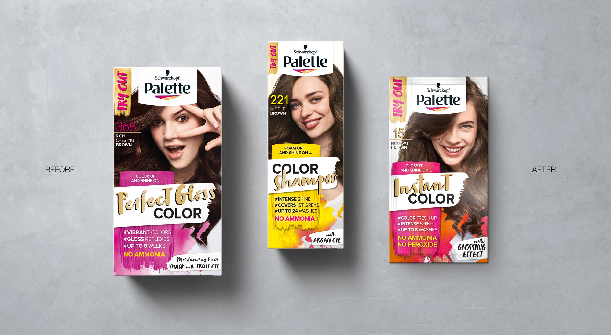 Schwarzkopf Palette Hair Coloration Packaging Designs on Concrete, Relaunch Design 2018