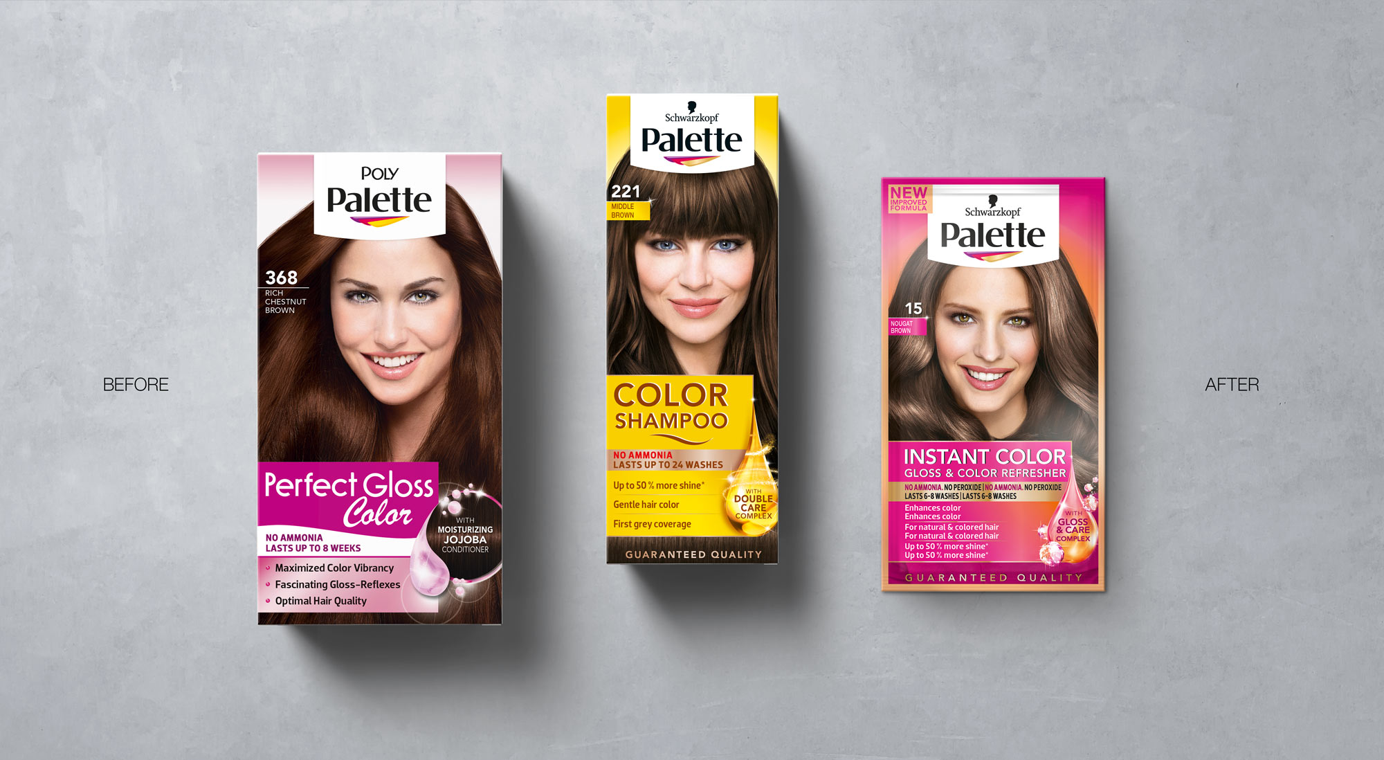 Schwarzkopf Palette Hair Coloration Packaging Designs on Concrete, Before Relaunch Design 2018