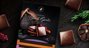 Superfood black garlic chocolate packaging