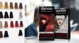 Two packages of Syoss relaunch 2020 shown in hair salon situation