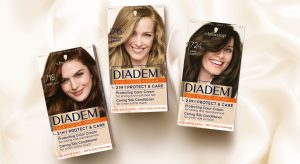 Schwarzkopf Diadem packaging design top view mood with three shades