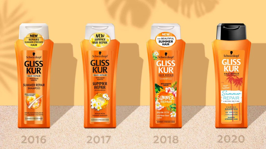 Gliss Kur Summer Repair Packaging Design Evolution 2020 by Schwarzkopf