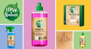 Love Nature tiles mood with logo, packshots and illustration