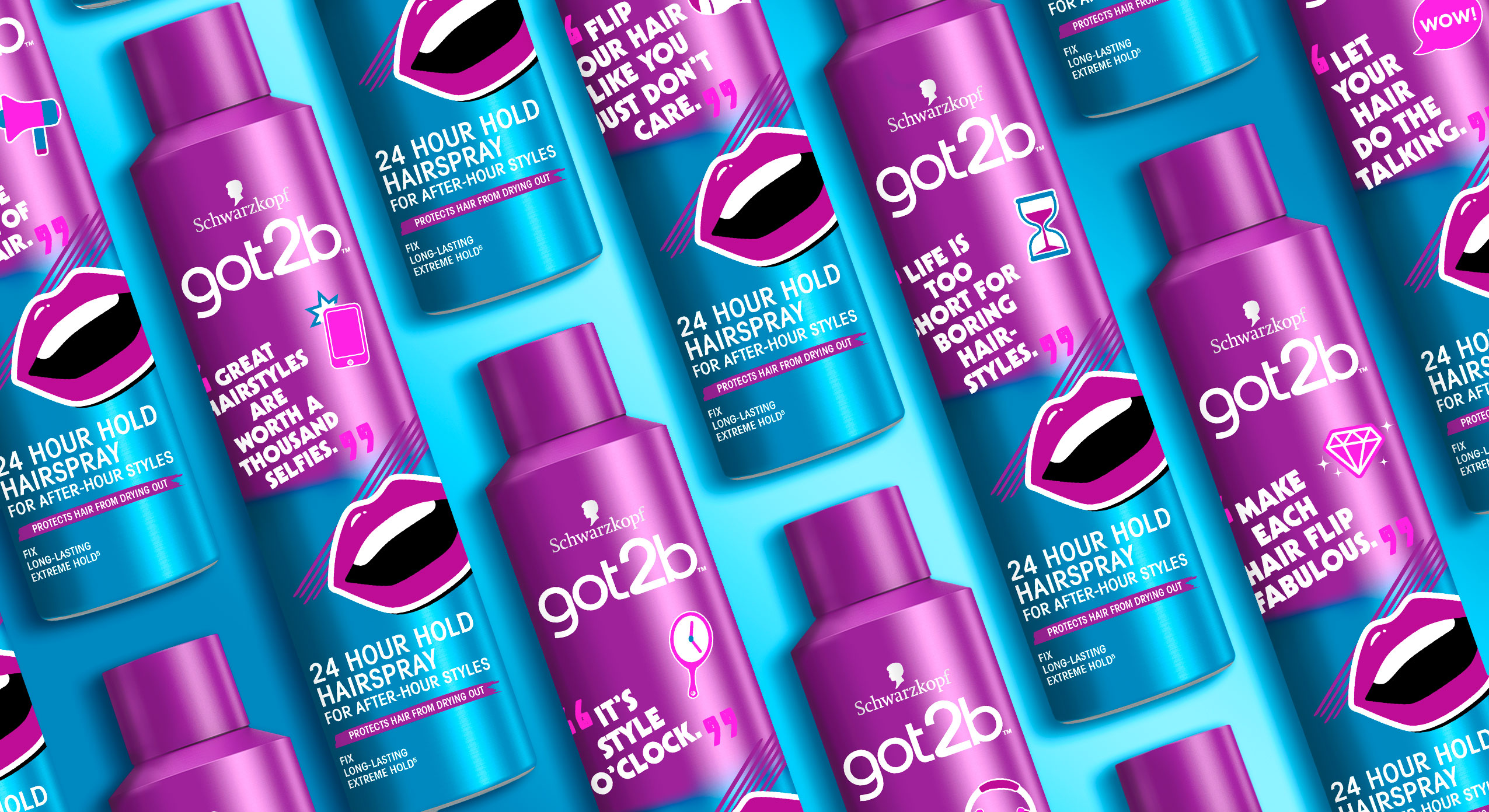 Schwarzkopf Got2b, Happy Hour Hairspray, Limited Edition 2021, packaging design, developed with baries design